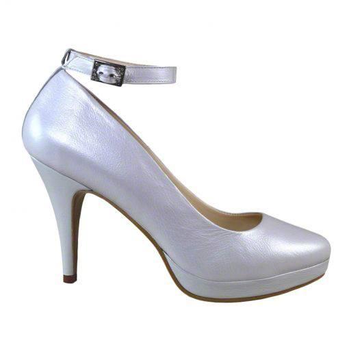Pantofi cu bareta, pentru mireasa, din piele naturala alb sidef, varf semirotund, platforma si toc de 9 cm-514PT-I