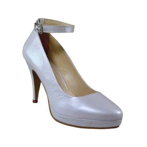 Pantofi cu bareta piele alb sidef, varf semirotund, platforma si toc de 9 cm-514PT-II