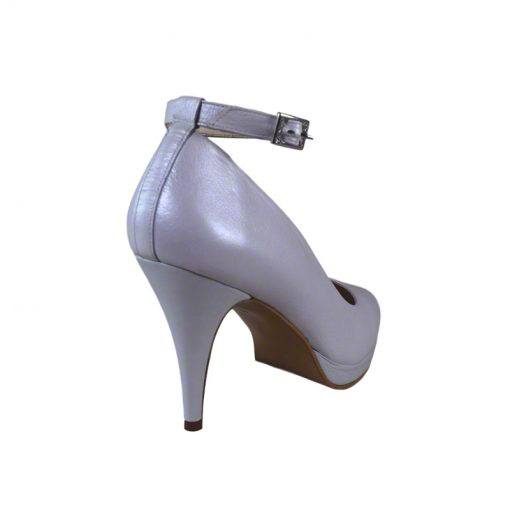 Pantofi cu bareta piele alb sidef, varf semirotund, platforma si toc de 9 cm-514PT-III