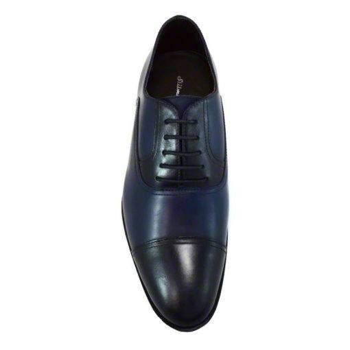 Pantofi din piele bleumarin nappa, pentru barbati, cu talpa din piele-46118E-IV