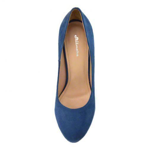 Pantofi din piele blue velour, cu platforma, cu toc de 12 cm-257PT-III