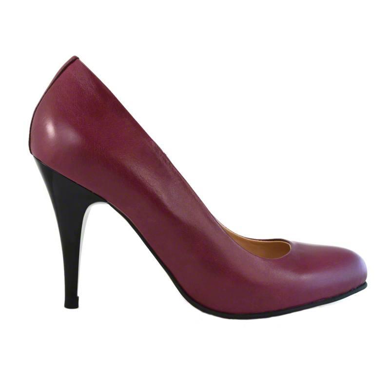 Pantofi din piele bordo nappa, cu toc de 9 cm-257T-I