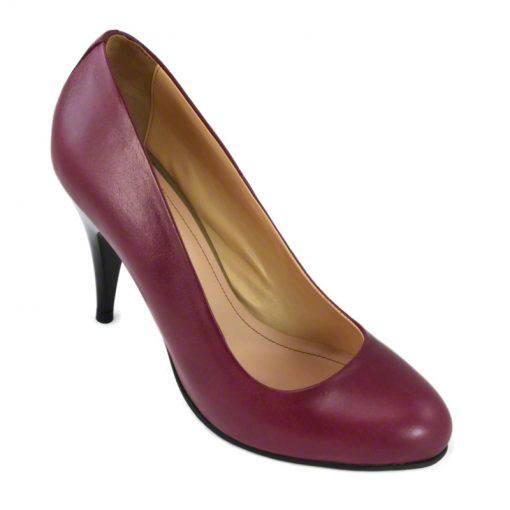 Pantofi din piele bordo nappa, cu toc de 9 cm-257T-II