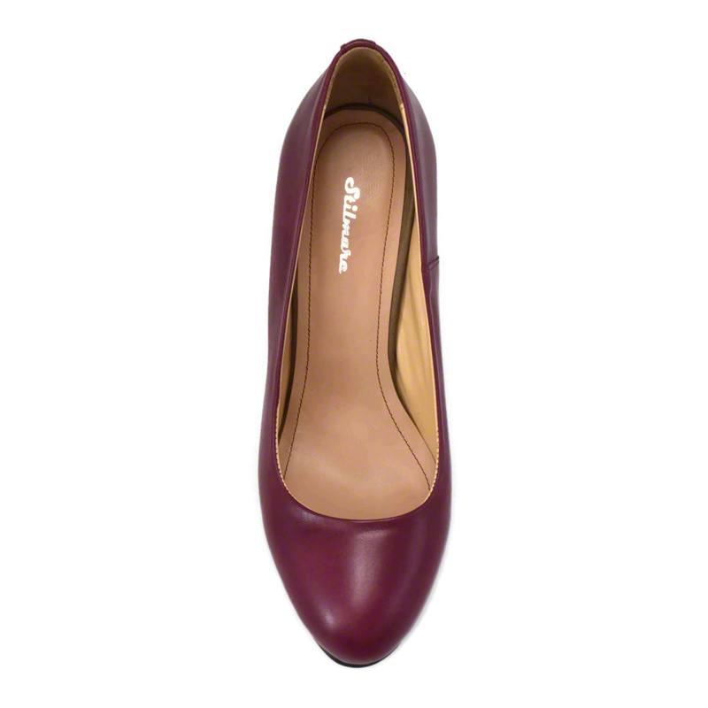 Pantofi din piele bordo nappa, cu toc de 9 cm-257T-IV