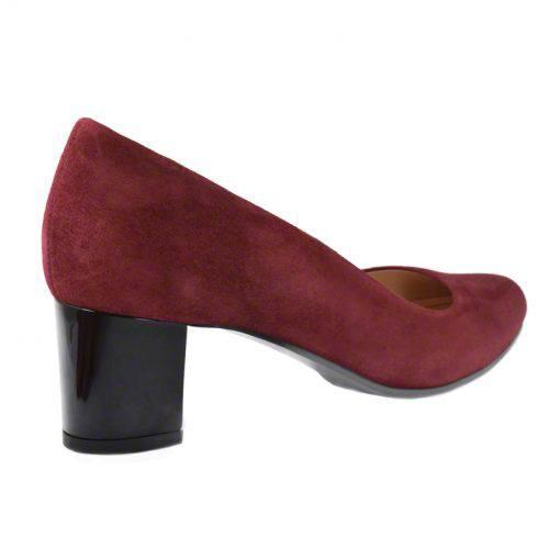 Pantofi din piele bordo velour, cu toc gros de 5 cm-208T-III