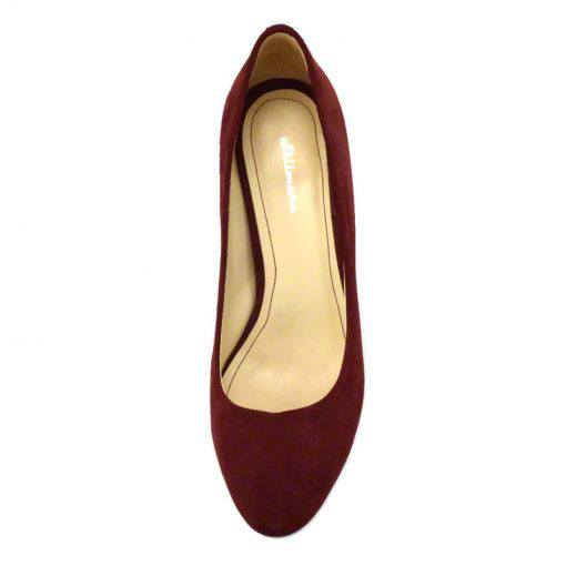 Pantofi din piele bordo velour, cu toc gros de 5 cm-208T-IV