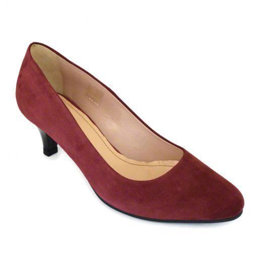 Pantofi din piele bordo velour, cu toc subtire de 5 cm-208T-II