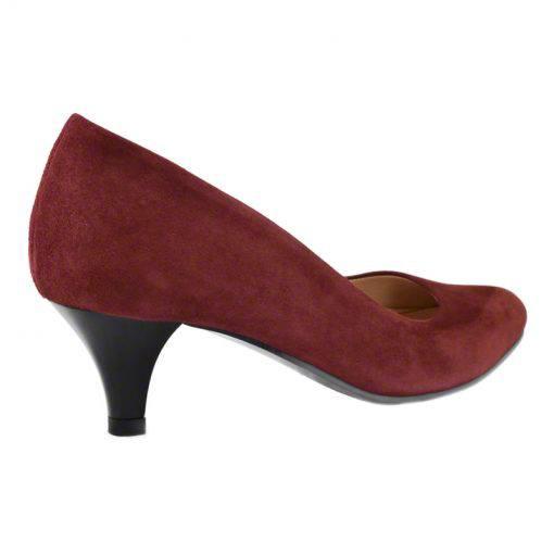 Pantofi din piele bordo velour, cu toc subtire de 5 cm-208T-III