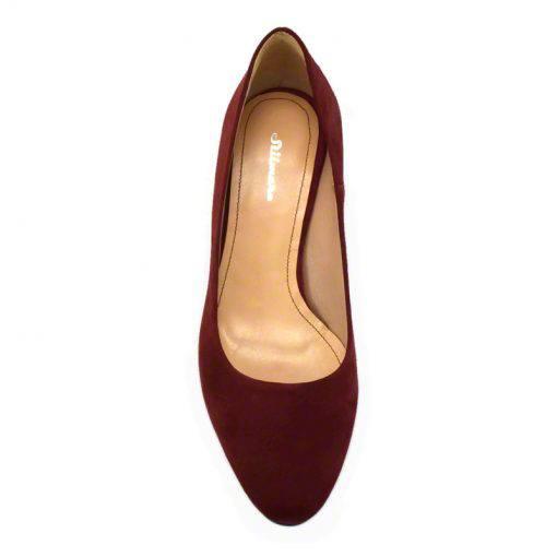Pantofi din piele bordo velour, cu toc subtire de 5 cm-208T-IV