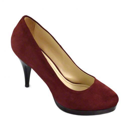 Pantofi din piele bordo velour, cu varf semirotund, platforma si toc de 9 cm-514PT-II