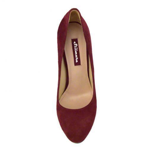 Pantofi din piele bordo velour, cu varf semirotund, platforma si toc de 9 cm-514PT-IV