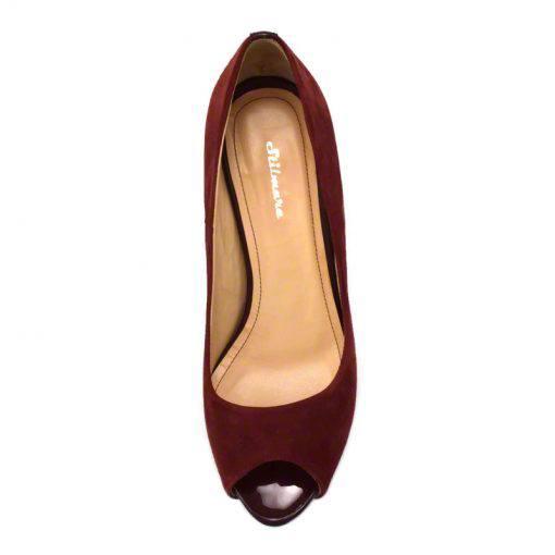 Pantofi din piele bordo velour, decupati la varf, cu platforma, cu toc de 9 cm-514PDT-IV