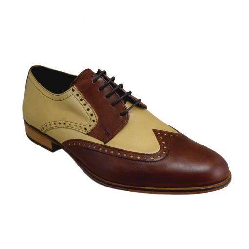 Pantofi din piele crem maro, pentru barbati, cu talpa din piele-1383E-II