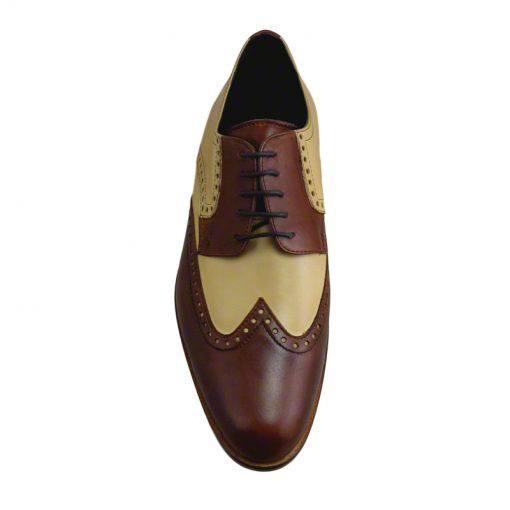 Pantofi din piele crem maro, pentru barbati, cu talpa din piele-1383E-III