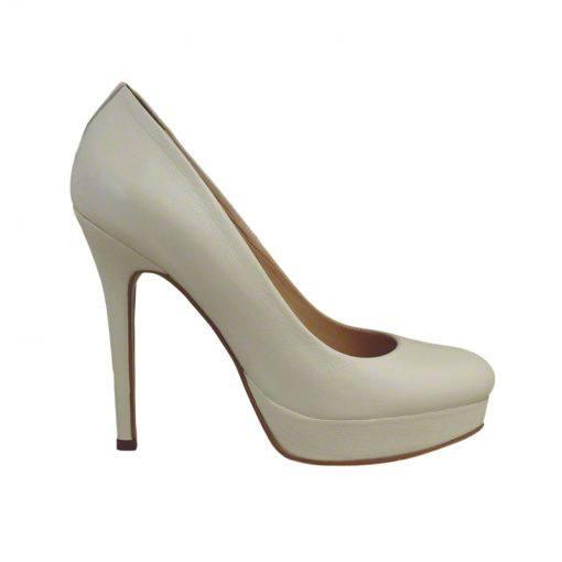 Pantofi din piele crem nappa, cu platforma, cu toc de 12 cm-257PT-I