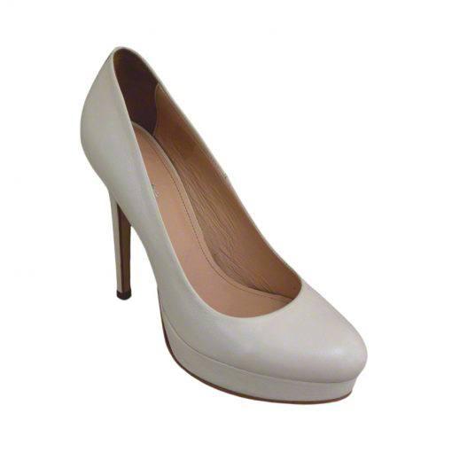 Pantofi din piele crem nappa, cu platforma, cu toc de 12 cm-257PT-II