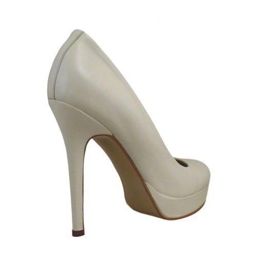 Pantofi din piele crem nappa, cu platforma, cu toc de 12 cm-257PT-III