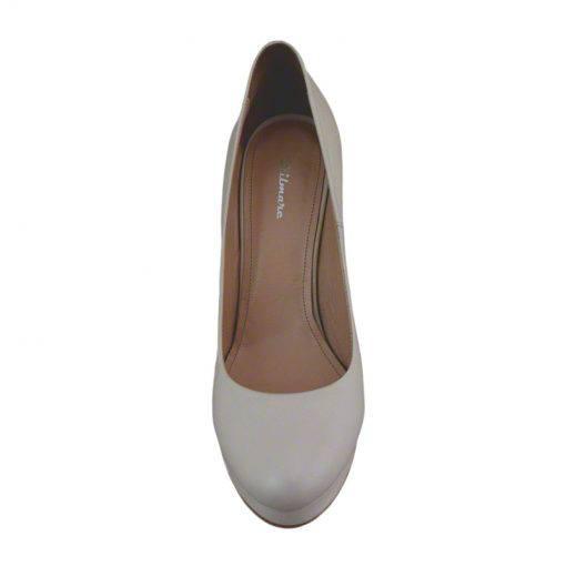 Pantofi din piele crem nappa, cu platforma, cu toc de 12 cm-257PT-IV