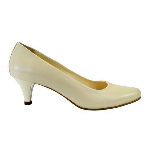 Pantofi din piele crem nappa, cu toc subtire de 5 cm-208T-I