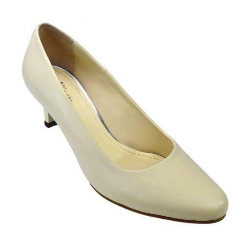 Pantofi din piele crem nappa, cu toc subtire de 5 cm-208T-II