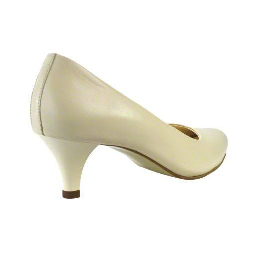 Pantofi din piele crem nappa, cu toc subtire de 5 cm-208T-III