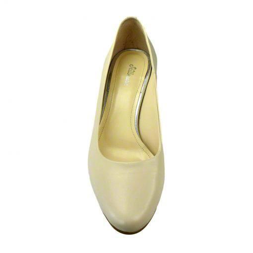 Pantofi din piele crem nappa, cu toc subtire de 5 cm-208T-IV