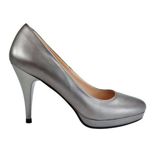 Pantofi din piele gri nappa