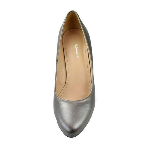 Pantofi din piele gri nappa, cu varf semirotund, platforma si toc de 9 cm-514PT-IV