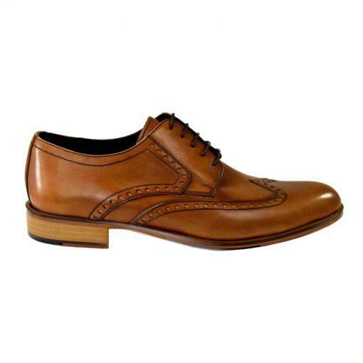 Pantofi din piele maro cognac, pentru barbati, cu talpa din piele-1383E-I