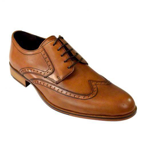 Pantofi din piele maro cognac, pentru barbati, cu talpa din piele-1383E-II