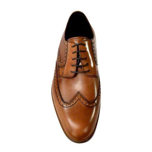 Pantofi din piele maro cognac, pentru barbati, cu talpa din piele-1383E-III