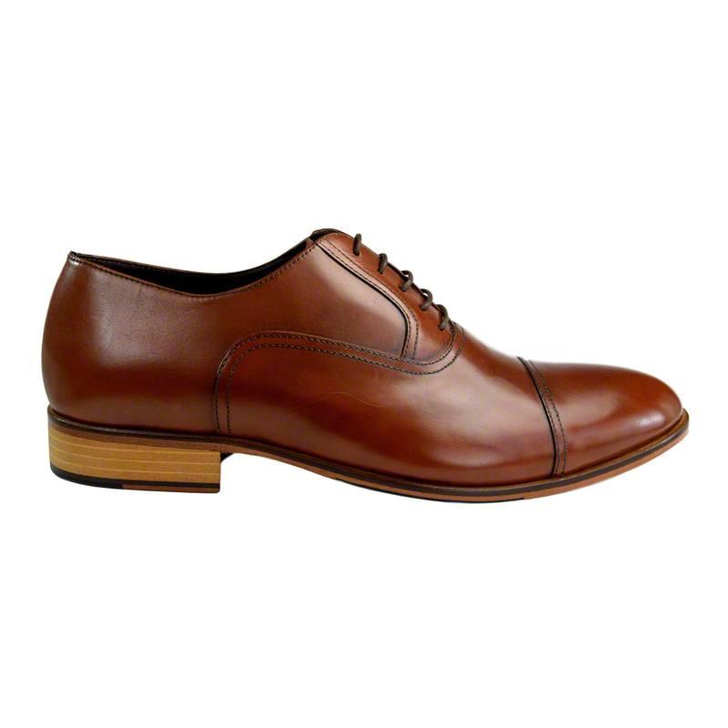 Pantofi din piele maro cognac, pentru barbati, cu talpa din piele-46118E-I