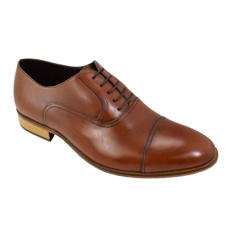 Pantofi din piele maro cognac, pentru barbati, cu talpa din piele-46118E-II