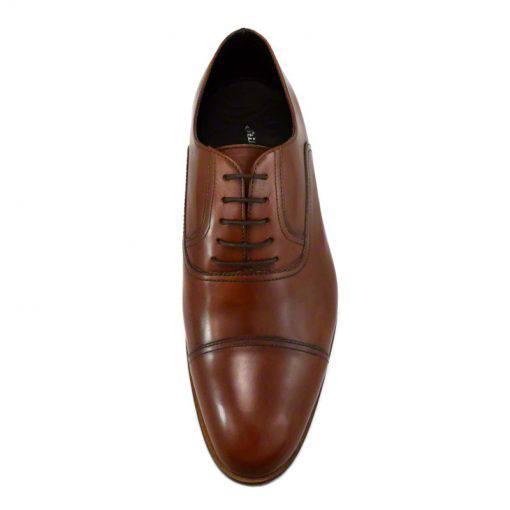 Pantofi din piele maro cognac, pentru barbati, cu talpa din piele-46118E-IV