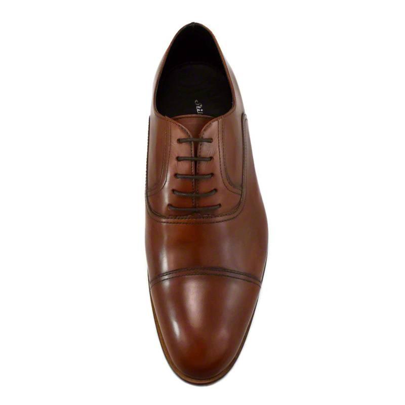 Pantofi din piele maro cognac, pentru barbati, cu talpa din piele-46118E-III