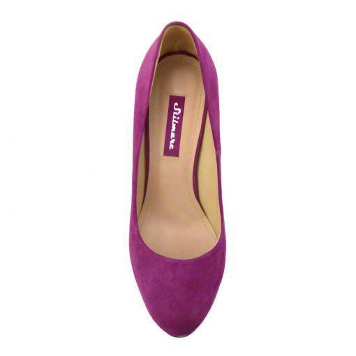 Pantofi din piele mov velour lac, cu platforma, cu toc de 12 cm-257PT-IV