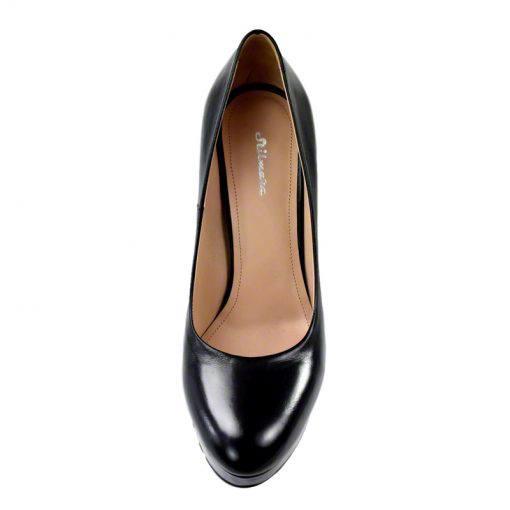 Pantofi din piele negru vitello, cu platforma, cu toc de 12 cm-257PT-IV
