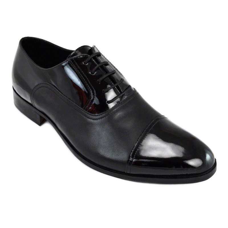 Pantofi din piele negru vitello lac, pentru barbati, cu talpa din piele-46118E-II