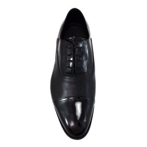 Pantofi din piele negru vitello lac, pentru barbati, cu talpa din piele-46118E-III