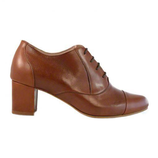Pantofi oxford din piele maro cognac, cu toc gros de 5 cm-208OT013-I