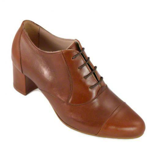 Pantofi oxford din piele maro cognac, cu toc gros de 5 cm-208OT013-II