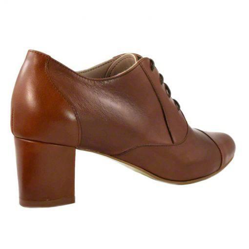 Pantofi oxford din piele maro cognac, cu toc gros de 5 cm-208OT013-III