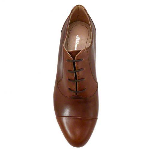 Pantofi oxford din piele maro cognac, cu toc gros de 5 cm-208OT013-IV