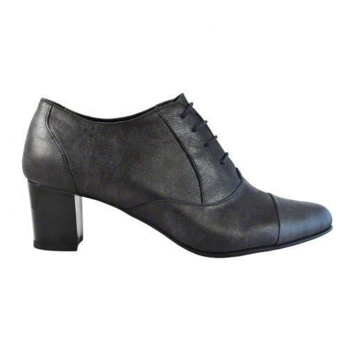 Pantofi oxford din piele negru grizonat, cu toc gros de 5 cm-208OT-I