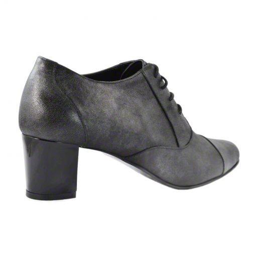 Pantofi oxford din piele negru grizonat, cu toc gros de 5 cm-208OT-III