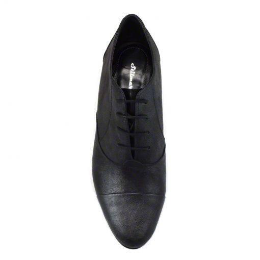 Pantofi oxford din piele negru grizonat, cu toc gros de 5 cm-208OT-IV