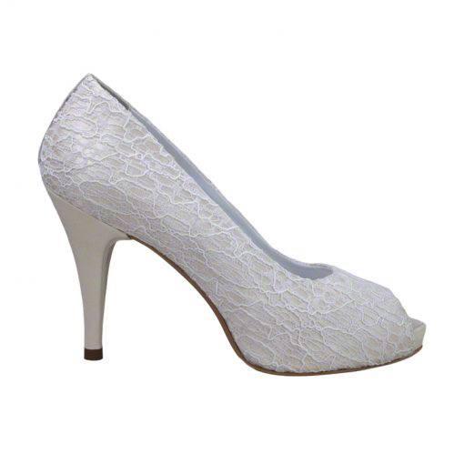 Pantofi panza dantelata crem, decupati la varf, cu platforma,cu toc de 9 cm-514PDT-I