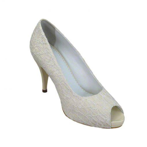 Pantofi panza dantelata crem, decupati la varf, cu platforma,cu toc de 9 cm-514PDT-II