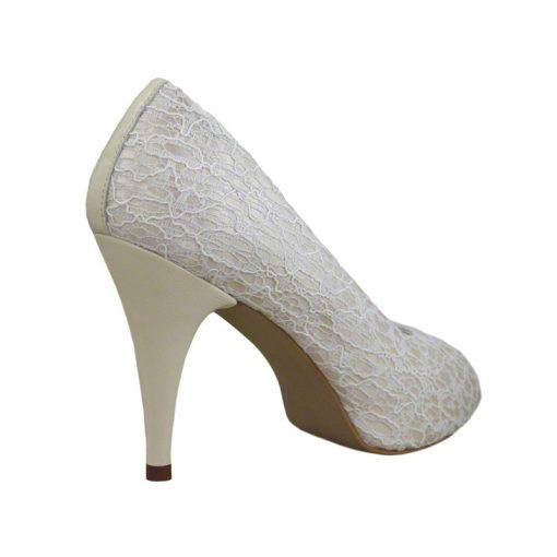 Pantofi panza dantelata crem, decupati la varf, cu platforma,cu toc de 9 cm-514PDT-III