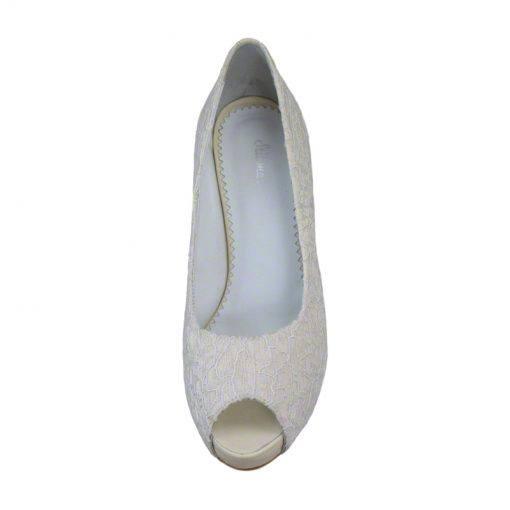 Pantofi panza dantelata crem, decupati la varf, cu platforma,cu toc de 9 cm-514PDT-IV